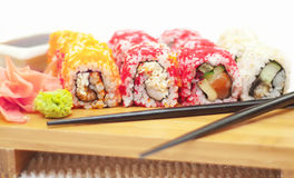 Laki sushi rolls at woody plate Stock Image