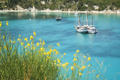 Lakka harbour in Paxos Greece. Stock Images