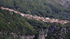Lakones村庄,科孚岛,希腊 免版税图库摄影
