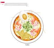 Laksa o minestra di pasta di riso piccante di Singapore Fotografia Stock Libera da Diritti