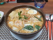 Laksa in Singapore style stock photography