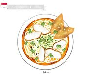 Laksa or Singaporean Noodle Soup with Dumpling and Meat Ball Royalty Free Stock Photos