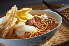 Laksa Spicy Noodle On Bamboo Basket royalty free stock images