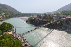 The Lakshman Jhula Bridge in Rishikesh Royalty Free Stock Photography