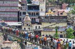 Lakshman jhula, foot bridge , Rishikesh, India stock images