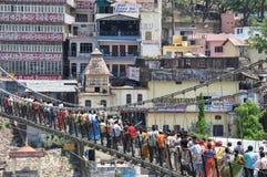 Lakshman jhula, foot bridge , Rishikesh, India Stock Images