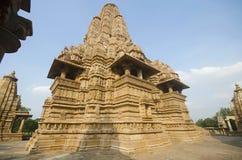 LAKSHMANA TEMPLE, Facade - Back view - Wall and Shikara, Western Group, Khajuraho, Madhya Pradesh, UNESCO World Heritage Site. LAKSHMANA TEMPLE, Facade - Back stock photography