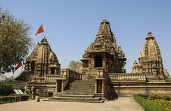 Lakshmana temple, Western Temples of Khajuraho,India. Lakshmana temple, Western Temples of Khajuraho in sunny weather, India Royalty Free Stock Image