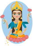 Lakshmi deity illustration. Royalty Free Stock Photos