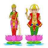 Lakshmi and Ganesha for Happy Diwali Stock Image