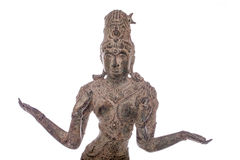 Lakshmi hindu goddess of wealth fortune and prosperity. Antique. Bronze statue of traditional figure. Close up isolated against white background Stock Photo