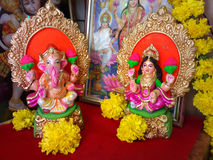 Lakshmi laxmi, ganesh, ganesha, diwalidyrkan arkivbild