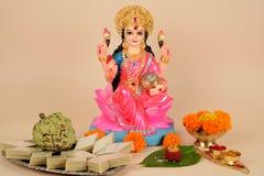 Lakshmi, Laxmi Puja, Diwali lub Deepavali świętowania, zdjęcie royalty free