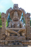 Lakshmi Narasimha statue of Hampi, India. Narsimha, who is one of many legendary avatars of the Hindu god Vishnu, is normally shown in his Ugra or menacing royalty free stock photography