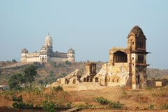Lakshmi temple and ruins of old fortress,India. Lakshmi temple and ruins of old fortress at Orcha ,India,Madhya Royalty Free Stock Photography