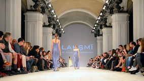 LAKSMI demo, Ukrainian Fashion Week 2015, Kiev, Ukraine,. KIEV - OCT 18: LAKSMI presentation during Ukrainian Fashion Week 2015 on October 18, 2015 in Kiev stock footage