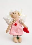 Lala anioł z jego rękami na białym tle fotografia royalty free