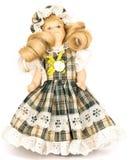 Lala blondynka w w kratkę sukni Obrazy Stock