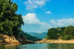 Lala khal自然运河在锡尔赫特市,孟加拉国 免版税库存图片