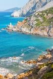 Lalaria Beach, Skiathos, Greece. landscape. Azure waters of the aegean sea on the island of Skiathos, Greece stock photography