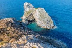 Lalaria Beach, Skiathos, Greece. landscape. Azure waters of the aegean sea on the island of Skiathos, Greece royalty free stock images