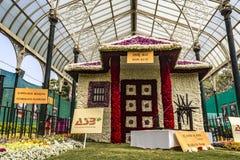 Lalbagh花展2019年1月- Gandhiji聚会所Bapu库蒂 免版税库存照片