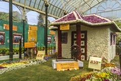 Lalbagh exhibición floral enero de 2019 - Ashram Bapu Kuti de Gandhiji imagen de archivo libre de regalías