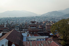 Lalitpur, Kathmandu rooftop view. Rooftop view of Lalitpur, KAthmandu before the earthquake damaged many of the buildings in 2015 royalty free stock photo