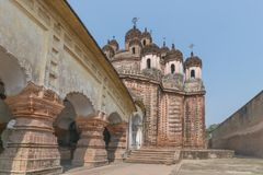 Lalji temple of Kalna, West Bengal, India. It is one of oldest temples of lord Krishna a Hindu Gd at Kalna with terracotta art works on the temple walls Royalty Free Stock Photo