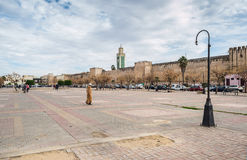 Lalla Loudain square and great mosque minaret. Stock Photography