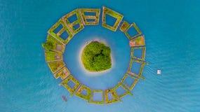 Lalu Island in the Middle of Sun Moon Lake, Aerial top view Floating Garden around Lalu island on Sun Moon Lake, Nantou, Taiwan.  royalty free stock photos