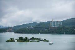 Lalu Sun Moon Lake in Nantou-van het het Jachteiland van de Provincie de Veerbootterminal Royalty-vrije Stock Afbeelding