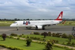 LAM Airlines, Embraer 190 Jet. 12th February 2012 Royalty Free Stock Images