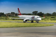 LAM Airlines, Embraer 190 Jet. 12th February 2012 Stock Image
