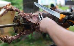 Lam bij spit, vleesbarbecue wordt geroosterd die Royalty-vrije Stock Afbeelding