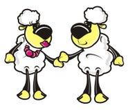 Lam, schapen, huisdier, landbouwbedrijf, beeldverhaal, dier, paar, liefde Royalty-vrije Stock Afbeeldingen