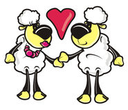 Lam, schapen, paar, liefde, viering, 14 Februari, beeld Royalty-vrije Stock Afbeeldingen