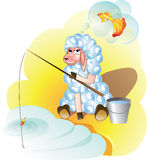 Lam visserijdromen van gouden vissen Royalty-vrije Stock Afbeelding