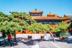 Lama świątynia, Chińska tradycyjna architektura w Pekin, Chiny obraz stock