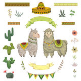 Lama animal, cacti, sombrero, ribbons, flowers and leaves. elements in watercolor style. Cartoon characters. Concept design for greeting card, poster stock illustration
