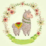 Lama animal with floral wreath in watercolor style. Cartoon character. Royalty Free Stock Photo