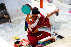 The lama around the Boudha Stupa in Kathmandu Stock Photos