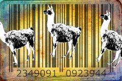 Lama barcode animal design art idea. I am a traditional artist. This is digital painting and 3d software compilation. This is my own idea Stock Image