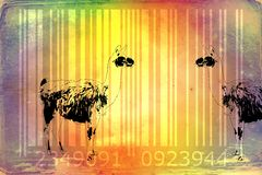 Lama barcode animal design art idea. I am a traditional artist. This is digital painting and 3d software compilation. This is my own idea Royalty Free Stock Image