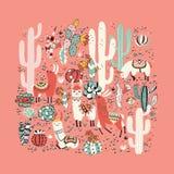 Lama in cactus jungles card Stock Image