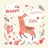 Lama Card heureux Photos stock