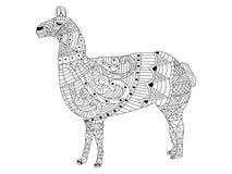 Lama Coloring-vector voor volwassenen Royalty-vrije Stock Foto