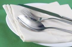 Lama con una forchetta e un cucchiaio Fotografie Stock