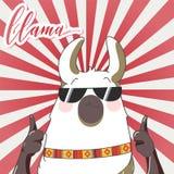 Lama dans le style de bande dessinée Photographie stock libre de droits