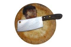 Lama del cuoco unico sul blocchetto di spezzettamento Fotografia Stock